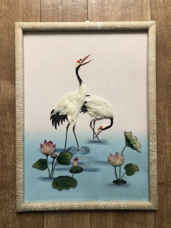 Панно, картина, 3D картина,объемная картина, картинка цветы птицы
