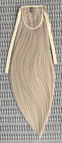 Włosy doczepiane, popielaty blond, kucyk, treska ( 95 )