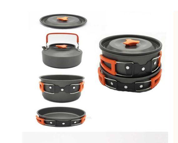 Набор туристической посуды с чайником 1100 мл HALIN Orange WL-101