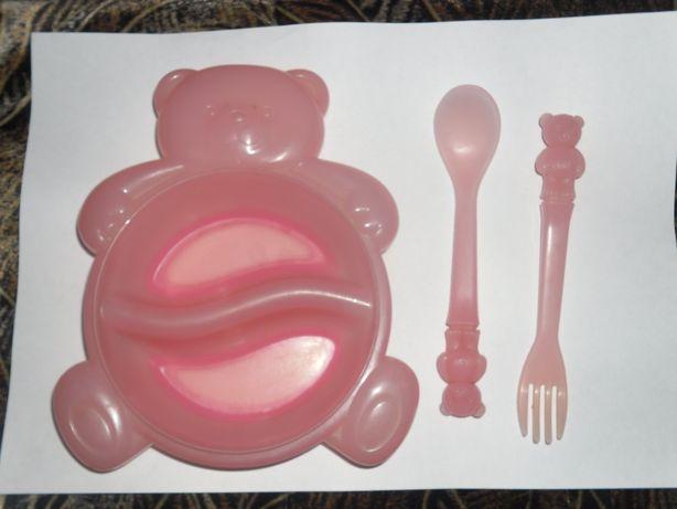 Набор тарелка+вилка с ложкой для ребенка
