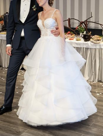 Biała suknia ślubna na 168cm, rozm. 34, xs/s
