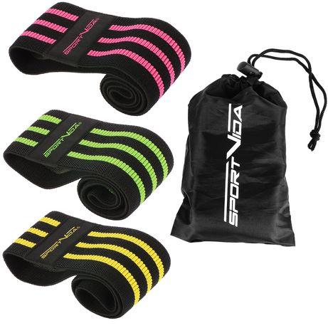 Резинка для фитнеса и спорта тканевая SportVida Hip Band 3 штуки SV-