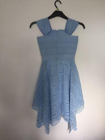 Błękitna sukienka bandage wieczorowa lub na dzień