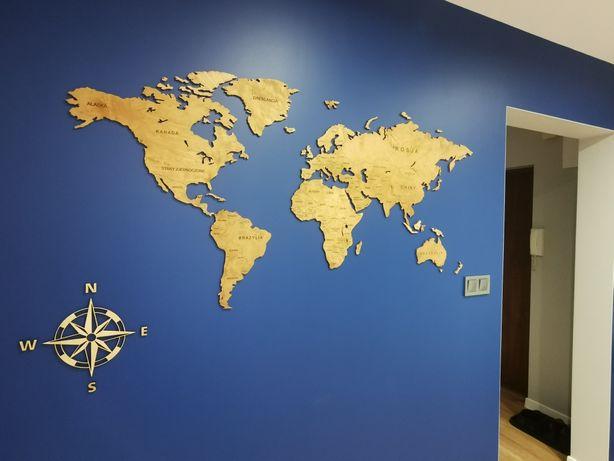 Dekoracyjna Mapa Świata 3D 120 cm