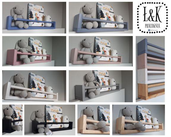 Półka drewniana na książki dla dzieci - styl skandynawski -ogranicznik