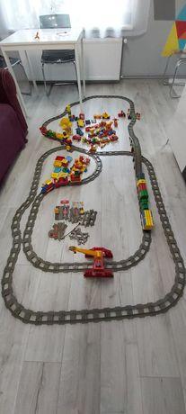 LEGO duplo, Mega tor kolejowy, pociąg, most, ciuchcia. Tory