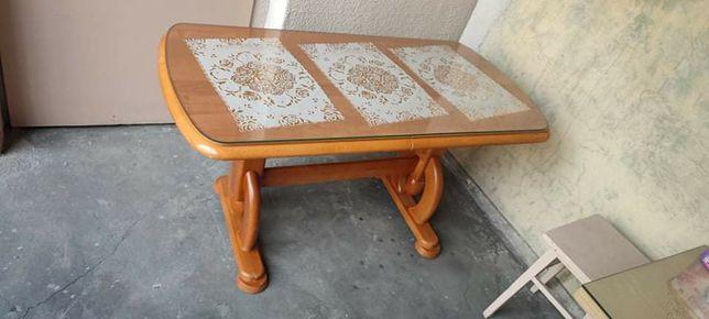 Ława stół z szyba