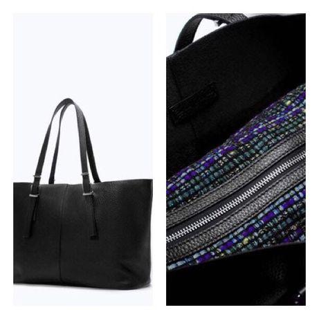 ZARA Shopper bag duża torba skóra