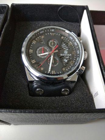 Piękny zegarek Benyar nowy skórzany czarny pasek