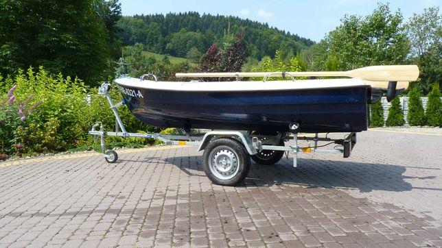 Łódka wiosłowa motorowa wędkarska Delfin 360 2 x 3. 6m+ przyczepka.