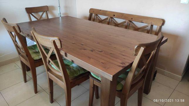 Mesa de sala para jantar + 4 cadeiras + 1 banco