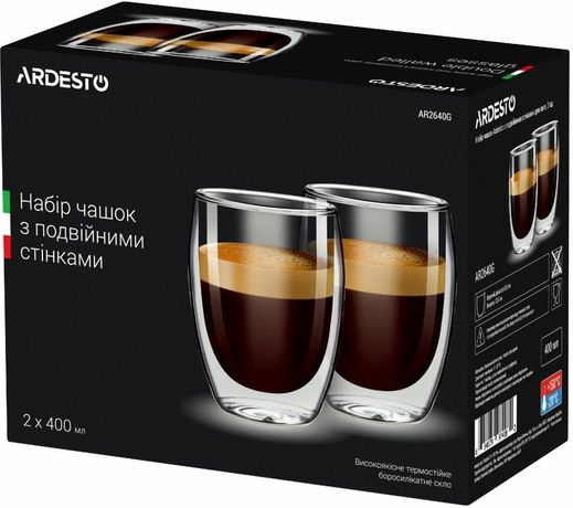 Набір чашок з подвійними стінками Ardesto 400 мл 2 шт