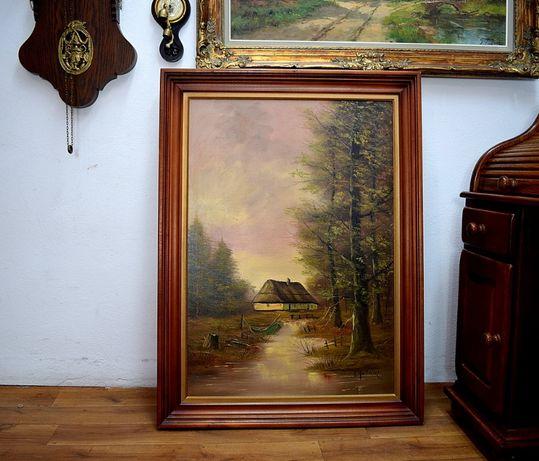 Duży obraz olejny - olej na płótnie z ramą wysyłam