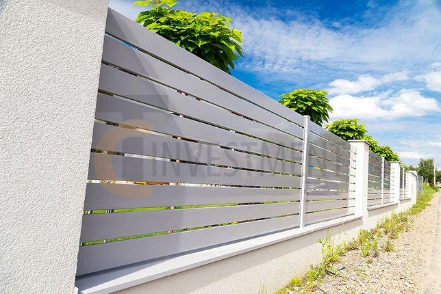 Przęsło panel ogrodzeniowy. Ogrodzenie palisadowe. Nowoczesna palisada