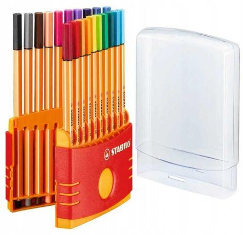 Nowe cienkopisy STABILO mix 20 kolorów w plastikowym sztywnym pudełku.