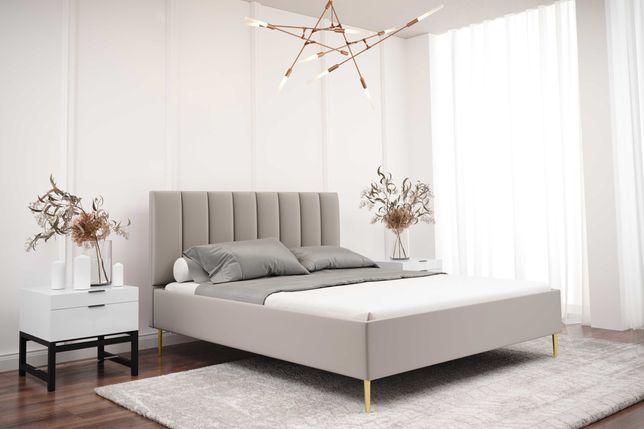 Łóżko tapicerowane Livorno 160x200 cm -piękny design! Metalowe nóżki