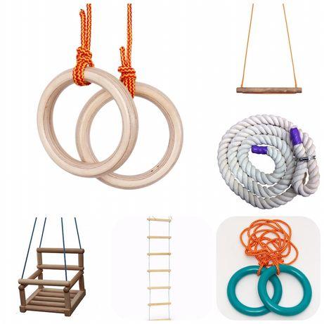 Кольца/ Трапеция/ Канат/ Веревочная лестница/Качели деревянные детские