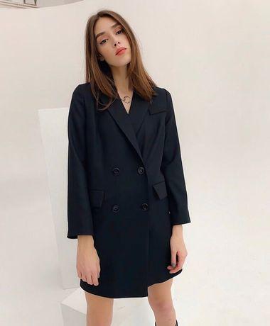 Удлиненный пиджак черный новый пиджак платье осень пиджак в школу