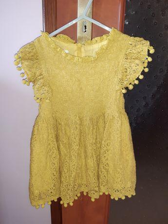 Sukienka żółta musztardowa koronka boho 74 80 86