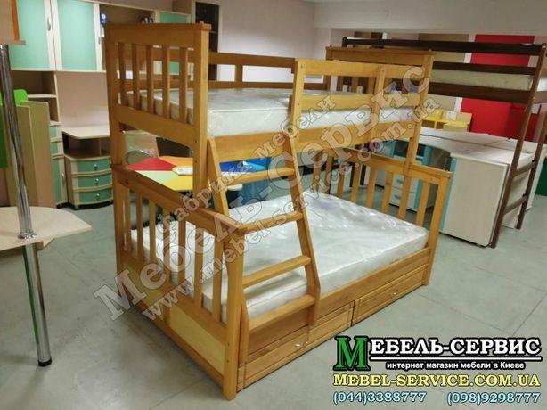 Двухъярусная кровать Олигарх Эко Ольха трехместная кровать трансформер