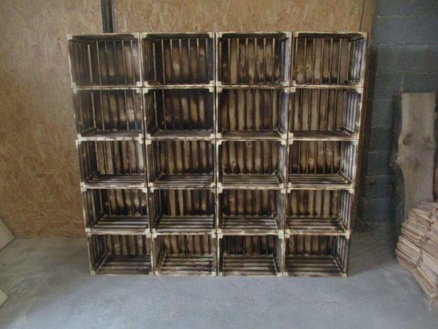 Skrzynka ozdobna, drewniana 40x30x30 na owoce meble opalana PL drewno