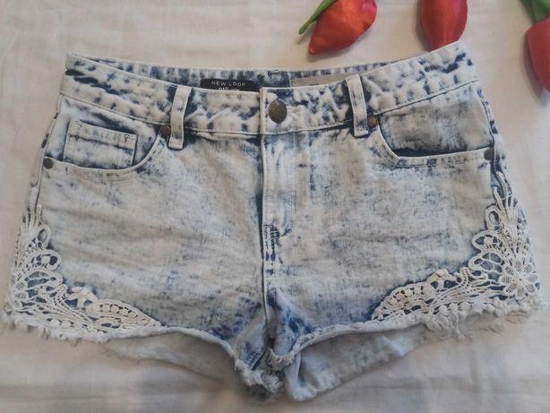 Krótkie spodenki szorty jeansowe dżinsowe z koronką S