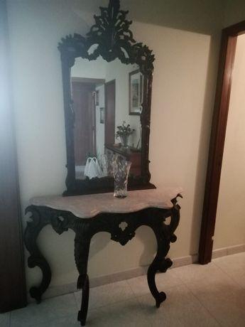 Mesa de marmore com espelho vintage