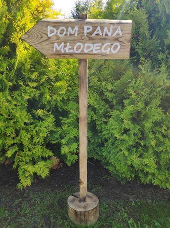 Rustykalne drogowskazy ślubne: Dom Panny Młodej, Dom Pana Młodego
