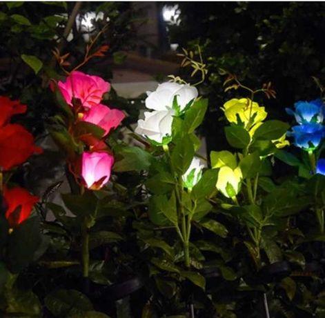 Ogrodowa Lampa Solarna LED Róża kwiat