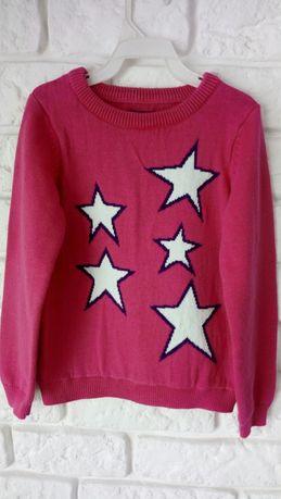 Sweterek w gwiazdki różowy malinowy na 3 lata jak nowy bawełniany