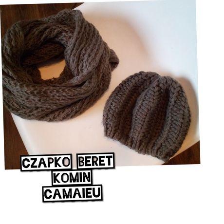 Szal Komin plus Czapka typu beret, CAMAIEU, zestaw zimowy
