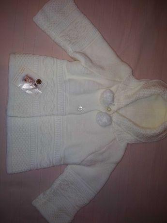 Детская новая теплая вязаная кофта с капюшоном