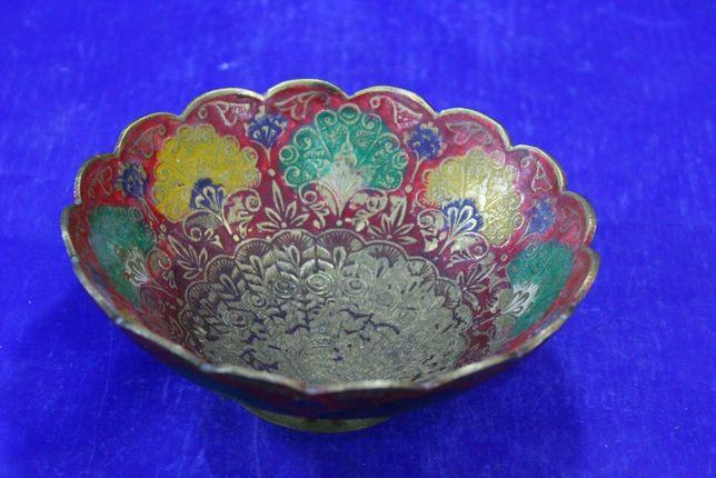 Конфетница ваза Индия 1970 год латунь эмаль вручную изготовлена и расп