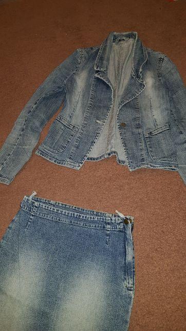Jeans kurtka i spódnica rozmiar 36