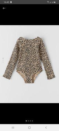 Боди трико леопардовый на кнопках zara, 11-12 лет