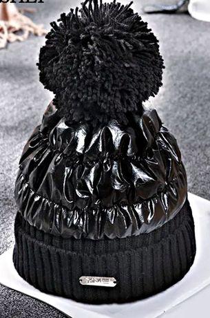 Czarna czapka lakier bąbel KOLORY