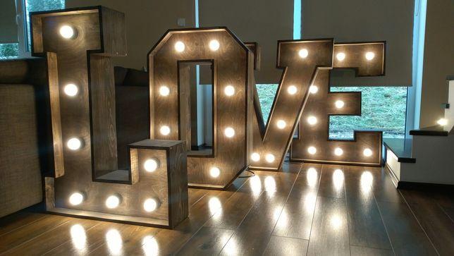 Napis Love drewniany rustykalny boho hit wesele