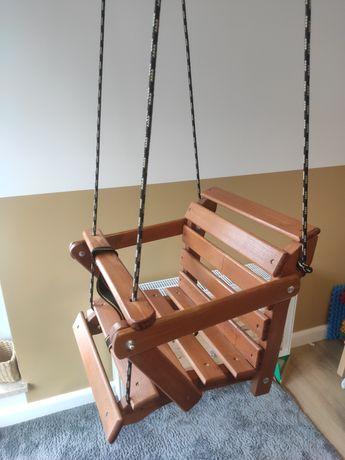 Huśtawka drewniana porządna montessori siedzisko bujak dzieci