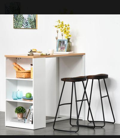 Stół kuchenny, barowy z półkami