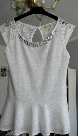 Nowa bluzeczka z baskinką, koronka S/M