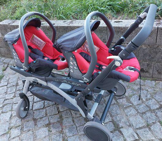 Carrinho de bebe Gémeos C/ cadeiras auto grupo 0.