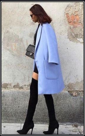 Płaszcz Zara niebieski oversize 34 XS kieszenie