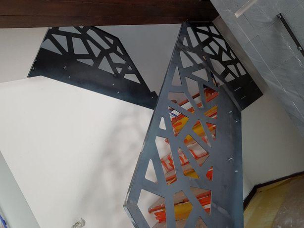 Nowoczesna balustrada wycinana z blachy -schody, cnc, laserowo design