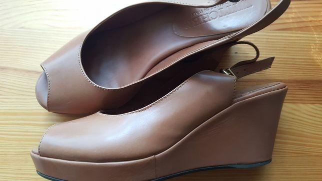 NOWE Wittchen, włoskie sandały platformy, 38/39, skóra, beż, carmel