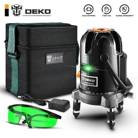 Лазерный  deko уровень нивелир DEKO зелёный луч 5линий 6точек,