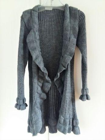 Sweter długi boho blezer M/L narzutka CLOCKHOUSE C&A z wełną