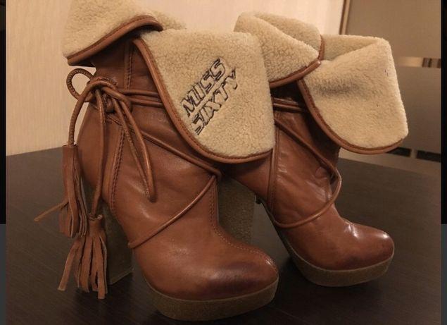 Зимние рыжие ботинки сапоги Miss Sixty, кожа натуральная, 35 размер