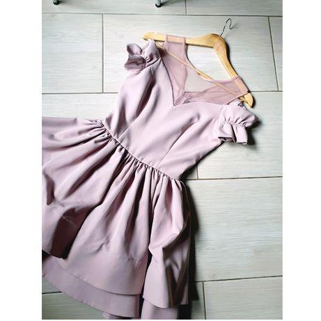Sukienka pudrowy róż rozkloszowana 36 S