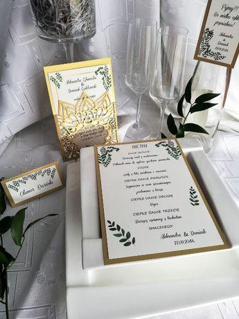 Laserowe zaproszenia ślubne złote ażurowe winietki zawieszki menu