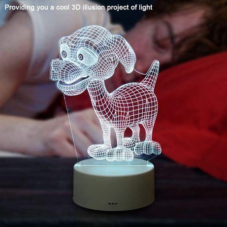 Lampada LED 3D RGB com Controlo Remoto Luminaria 3W 4,5V NOVO e SELADO